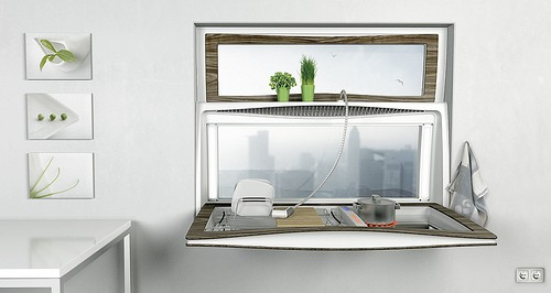 Kitchen Window incorporates a sink and a stove