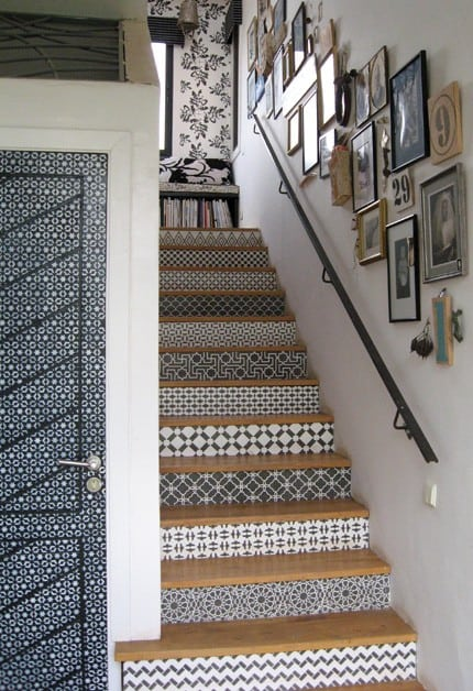 Black and White Patterned stairs
