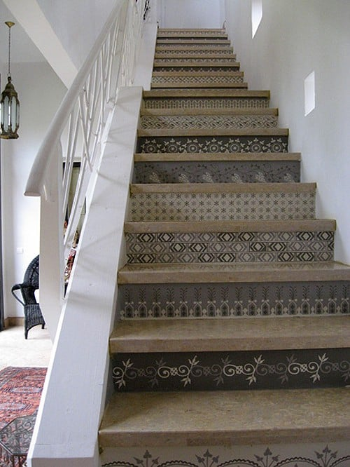 Moroccan Stencil Staircase via The Style Files