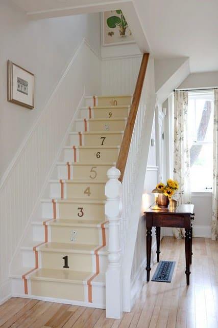 Numbered Stairs by designer Sarah Richardson
