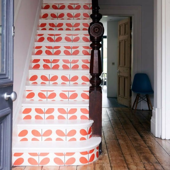 Orla Kiely patterned stairs