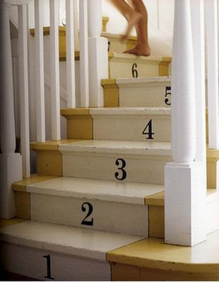 painted stair with numbers via nest egg