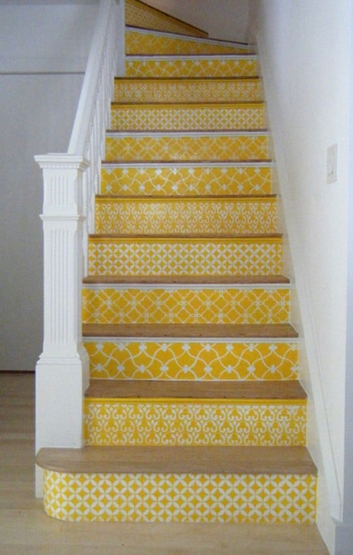 Yellow Moroccan Stencil staircase via Style Files