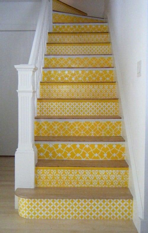 Yellow Moroccan Stencil staircase via Style Files