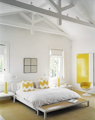 and White bedroom. Image by Photographer Douglas Friedman via My