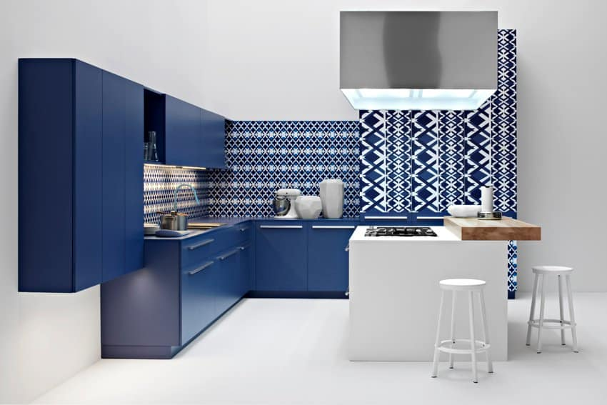 The blue and white diamond kitchen from the Playground collection by Elmar Cucine