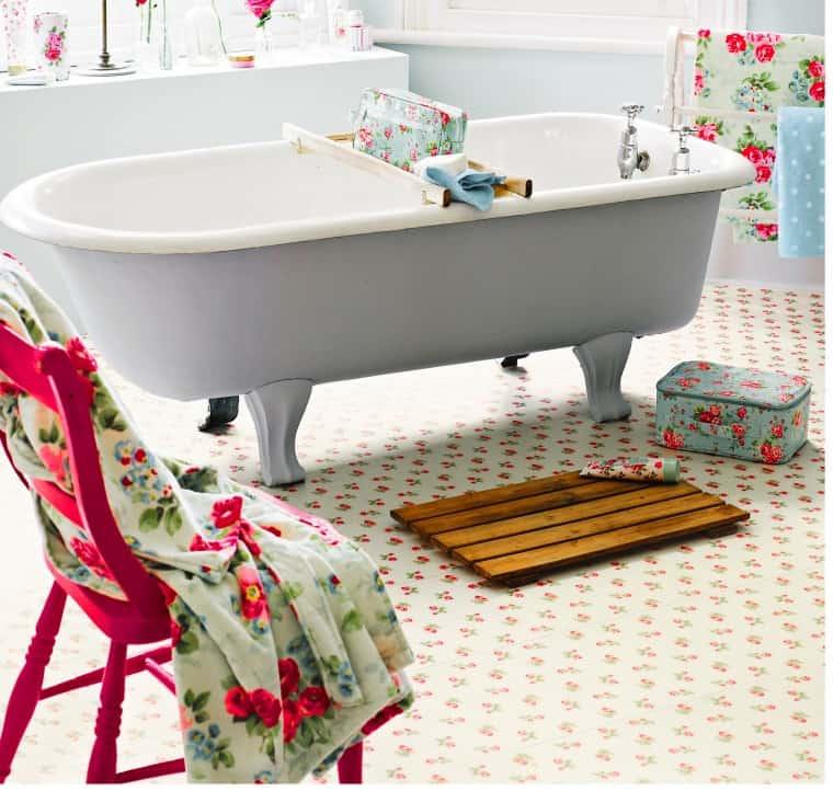 Cath Kidston rose sprig flooring in white