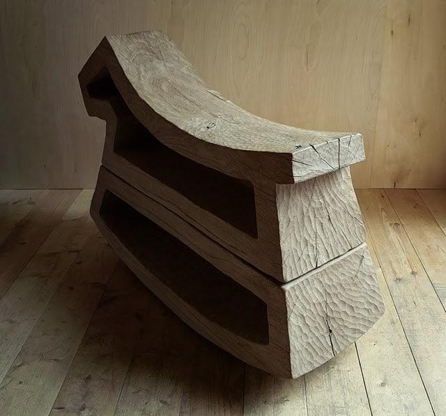 Sculptural organis wood chair by Denis Milovanov