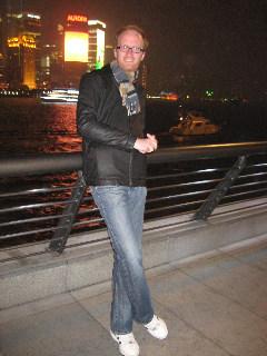 Tom on the Bund in Shanghai