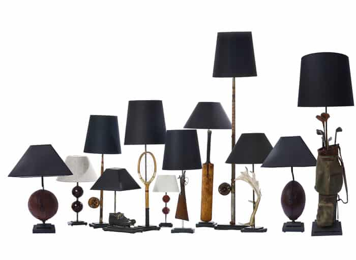 Collection of sporting lamps by Antiques by Design