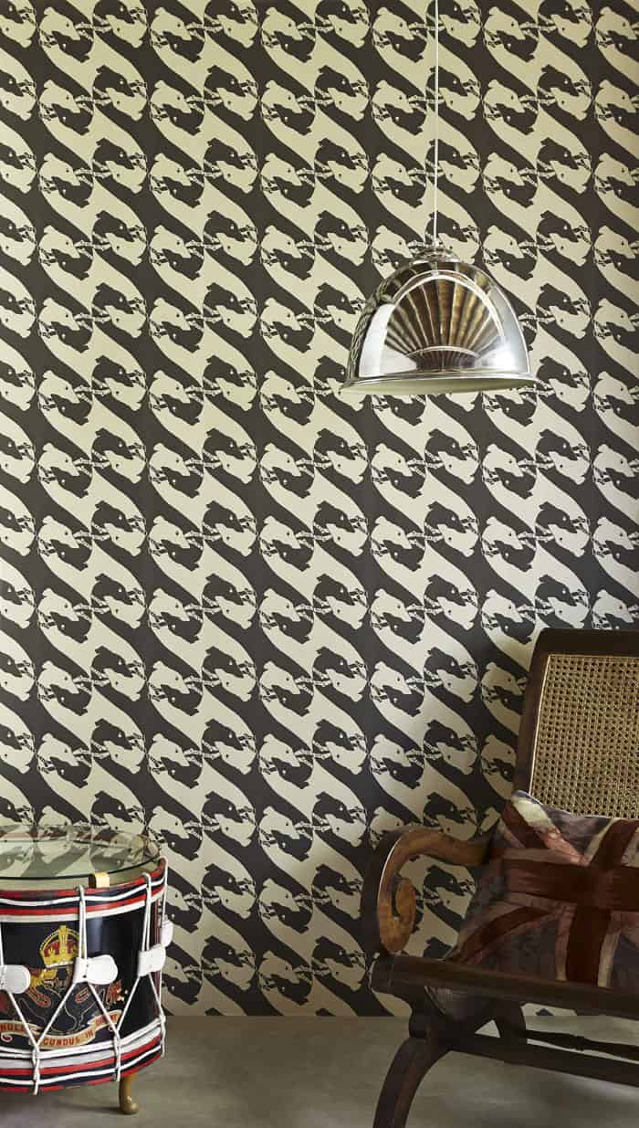 Barneby Gates Dogs Wallpaper in  Charcoal