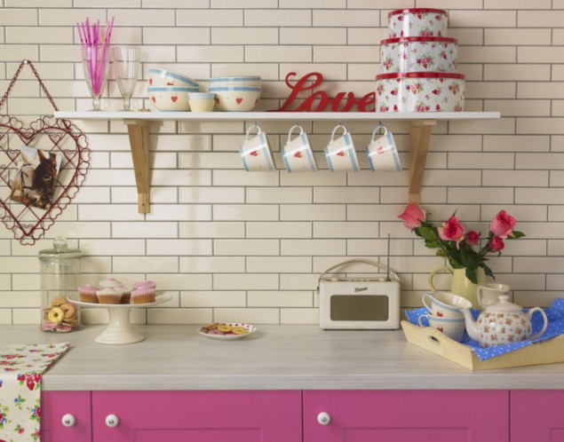 Cream metro brick tiles from Topps Tiles