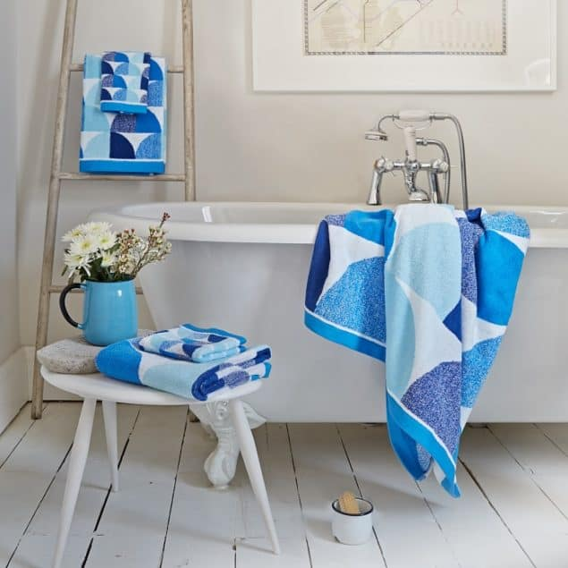 Scallop towels in blue by Lindsey Lang