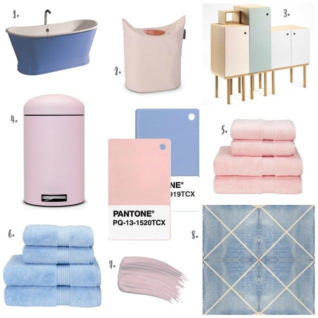 Pantone Colour of the Year 2016 Rose Quartz & Serenity - Products for the Bathroom