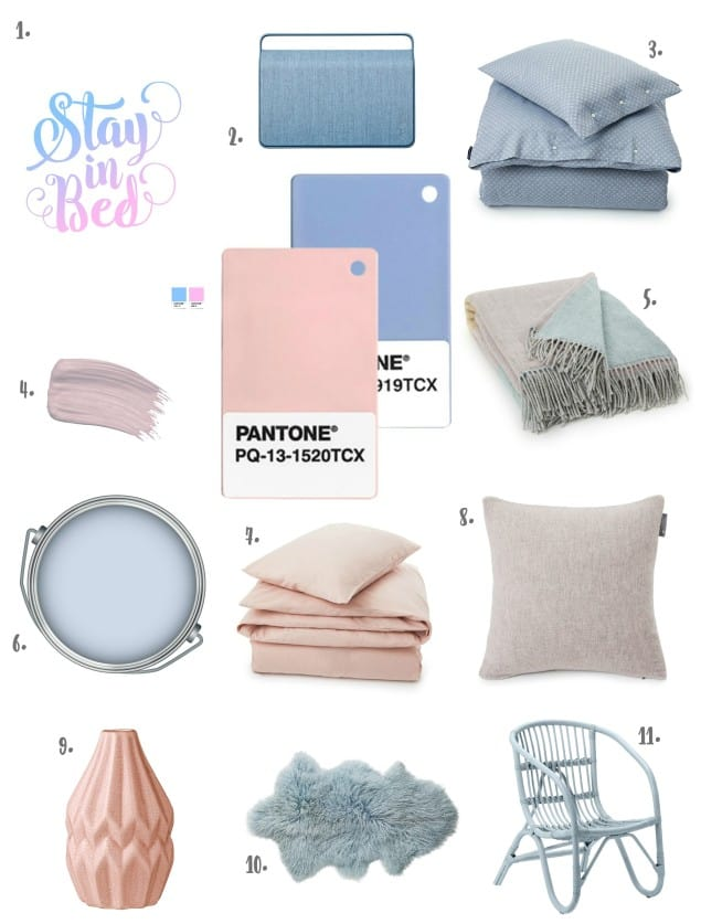 Pantone Colour of the Year 2016 Rose Quartz & Serenity - Products for the Bedroom