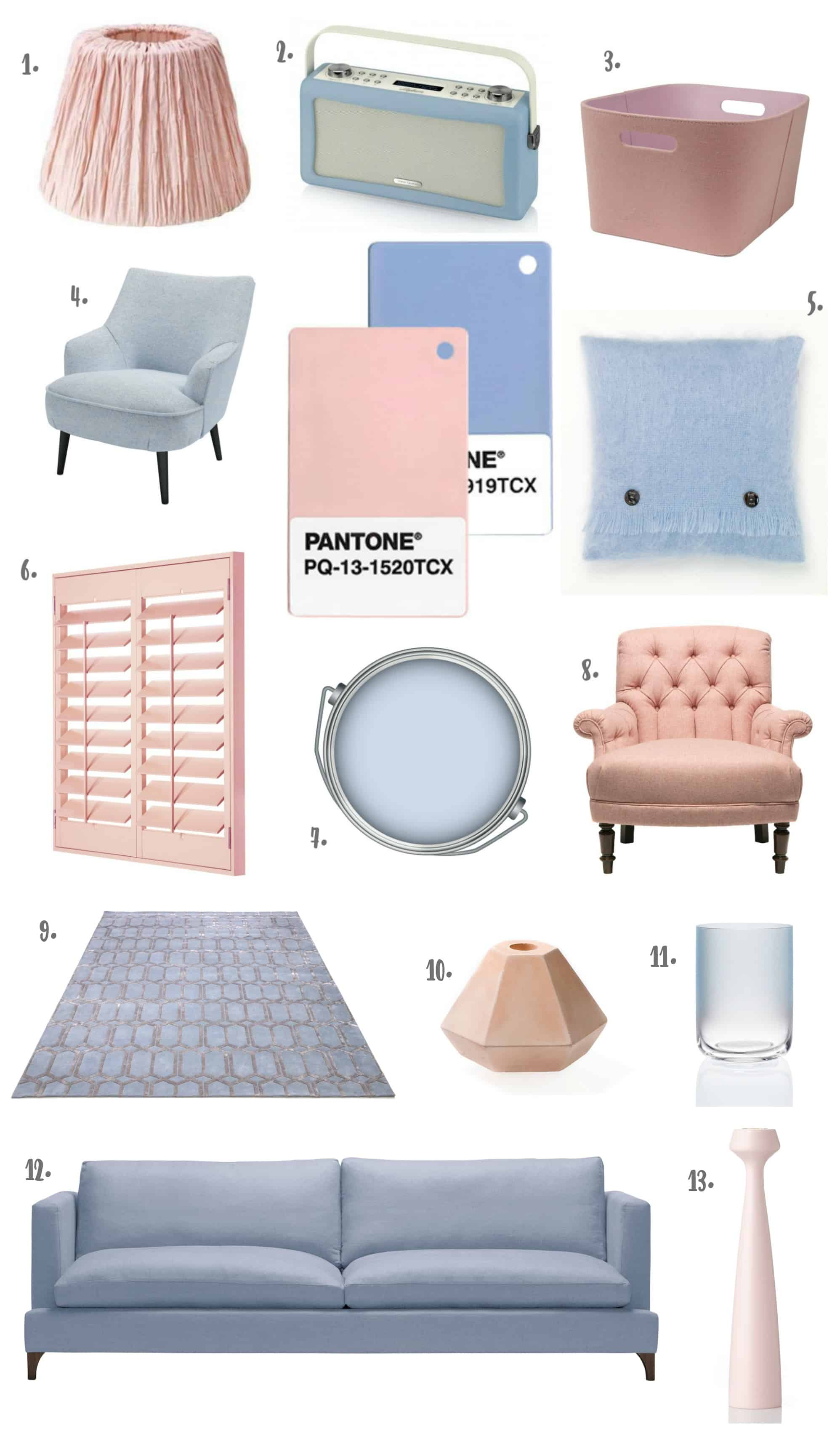 Pantone Colour of the Year 2016 Rose Quartz & Serenity - Products for the Livingroom