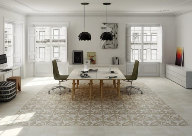 Picasso Natural Light patterned porcelain tile from Alhambra Home & Garden