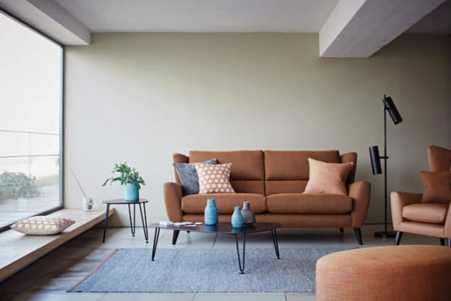 Burnt orange Florence sofa from The Lounge Co