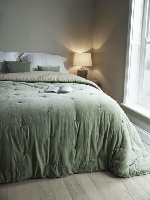 Create a cosy winter home with the AW16 Sage Velvet & Linen Kingsized Quilt from Cox & Cox