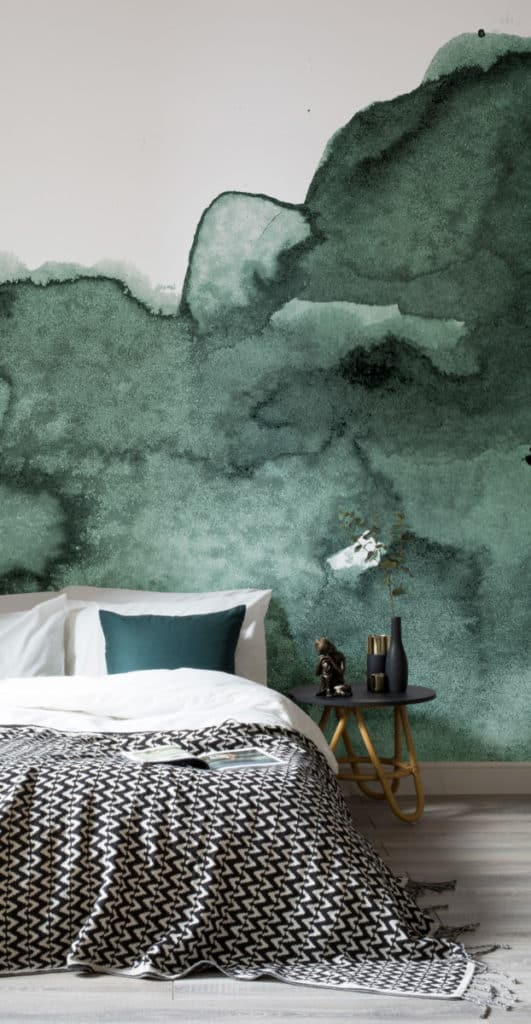 Abstract Green Watercolour Wallpaper from Murals Wallpaper