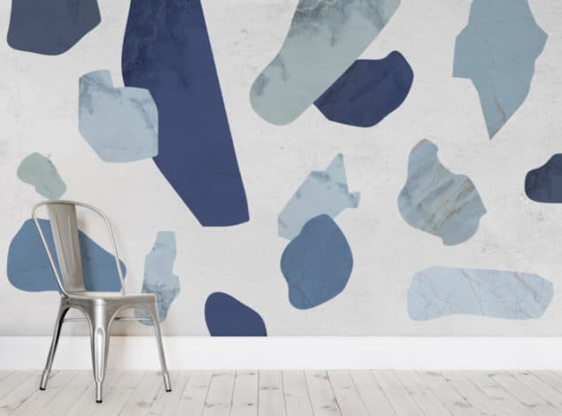 Blue Marble Terrazzo Wall Murals from Murals Wallpaper
