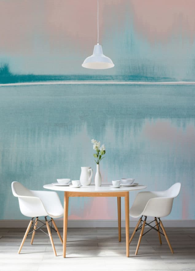 Louise Body Murals Wallpaper - still lake coral and blue watercolour wallpaper