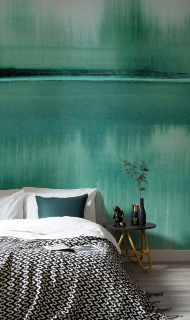 Louise Body Murals Wallpaper - still lake emerald watercolour wallpaper