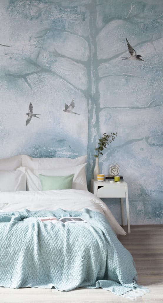 Louise Body Murals Wallpaper - tree tops blue watercolour wallpaper