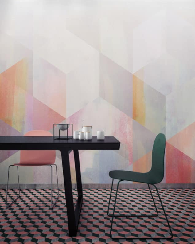 Newmore Watercolour wallpaper in Geometric Orange