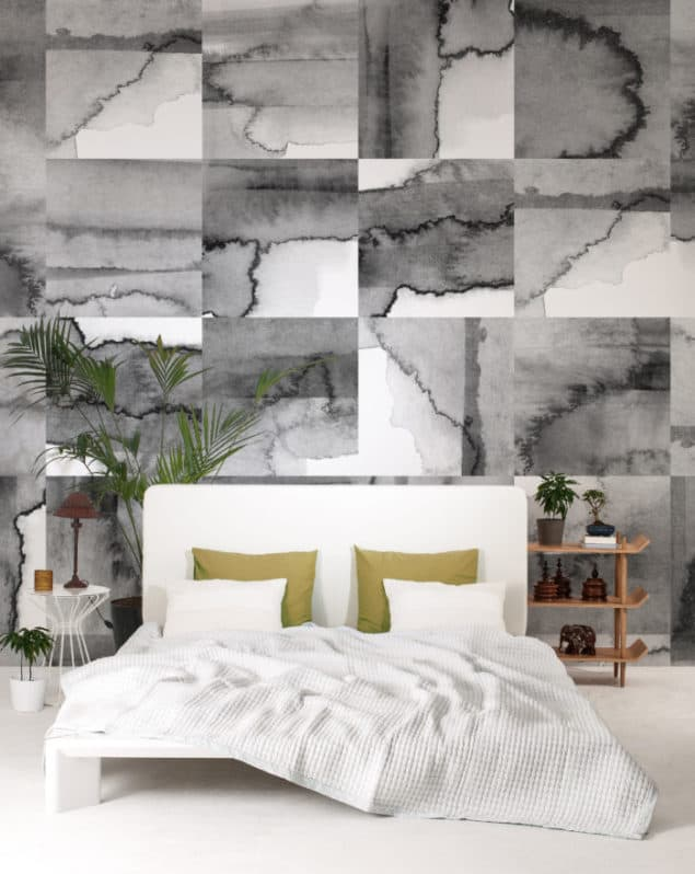 Newmore Watercolour wallpaper in Tiles Grey