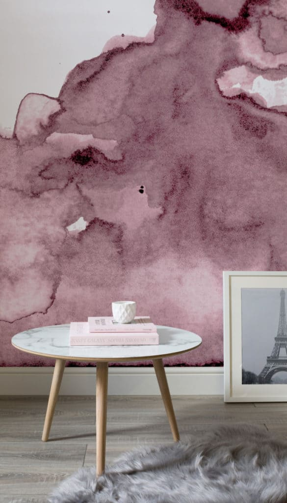 Pink Watercolour Wallpaper from Murals Wallpaper