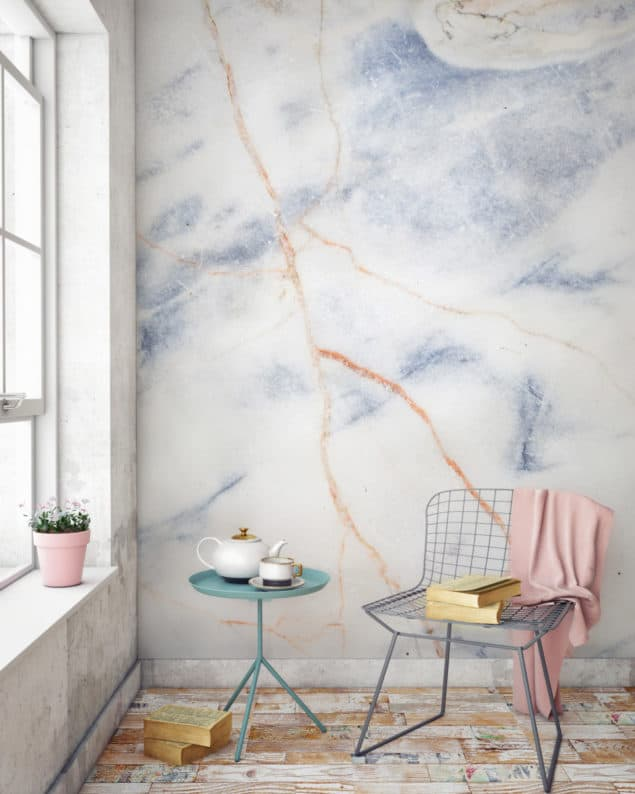 Blue and Bronze Marble Wallpaper from Murals Wallpaper