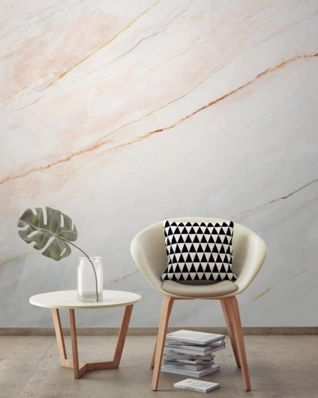 Blush Pink Fade Marble Wallpaper from Murals Wallpaper