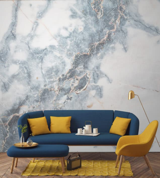 Deep Blue Clouded Marble Wallpaper by Murals Wallpaper