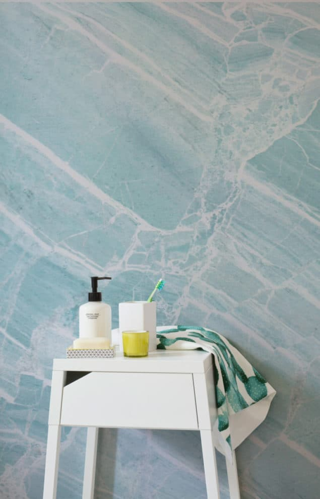 Teal Scrape Marble Wallpaper by Murals Wallpaper