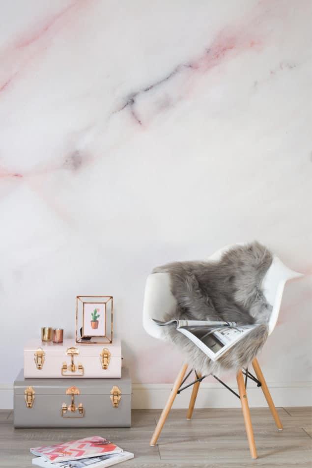 soft pastel pink Marble Wallpaper from Murals Wallpaper