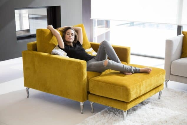 Yellow velvet sofas loveseat by Darlings of Chelsea