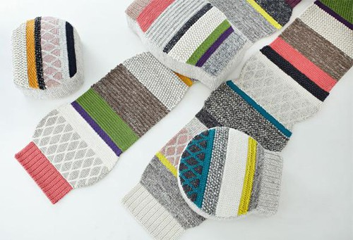 The Mangas line of hand-crafted wool rugs and poufs by Gandia Blasco