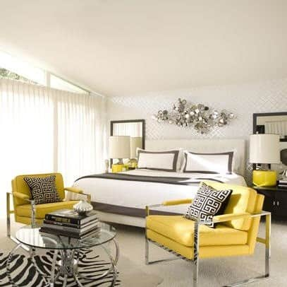 Yellow Grey Bedroom By Designer