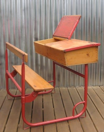 Vintage Double school desk with top storage by Bubbledrum
