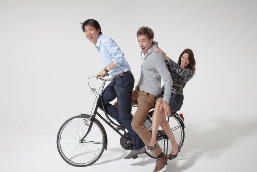 Made.com co-founders on the Hollander Bike: Ning Li (CEO), Julien Callède (COO) and Chloe Macintosh (Head of Collections)
