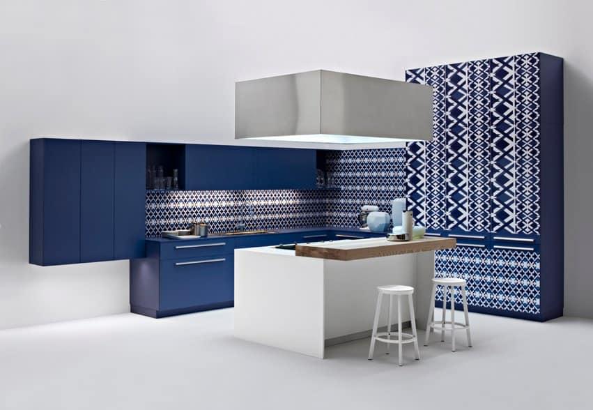 Blue and white diamond kitchen by Elmar Cucina
