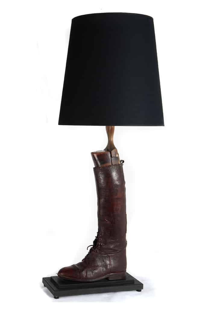 Antique hunting boot lamp by Antiques by Design