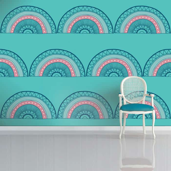 Horseshoe Arch Wallpaper in Teal by Sian Elin