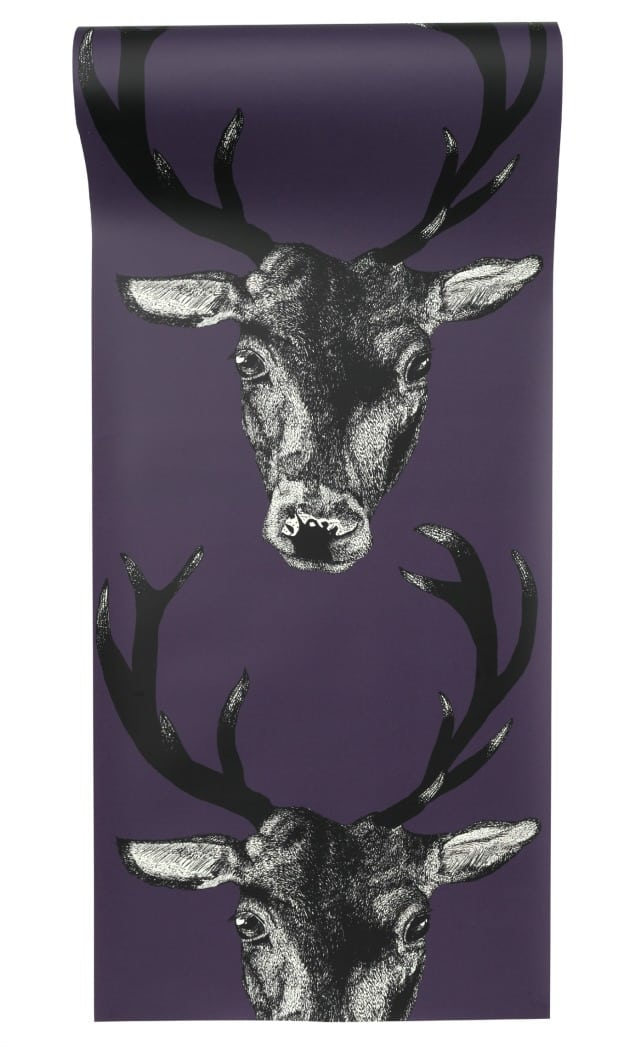 Stag Head Plum Wsallpaper by DesResDesign