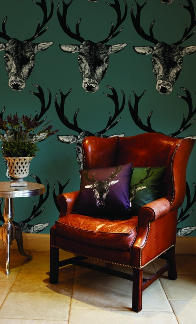 Stag teal Wallpaper by DesResDesign