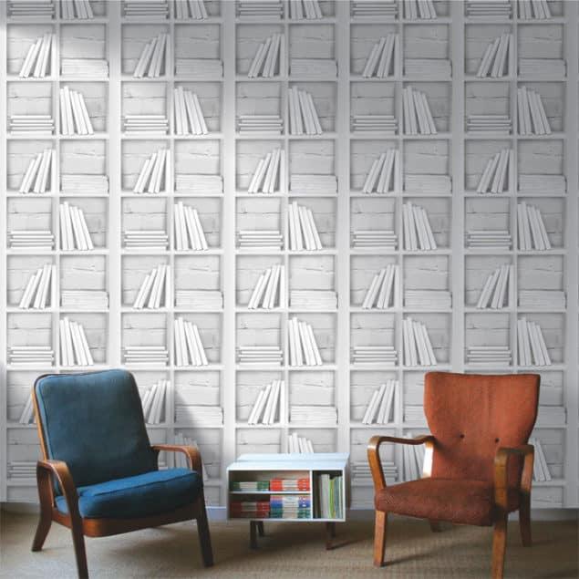 Chalk Decor Loft Bookcase Wallpaper