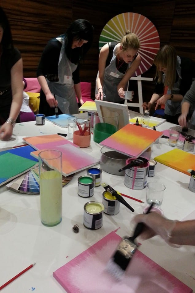 Dulux Flocking paint effect workshop with Marianne Shillingford Creative Director of Dulux
