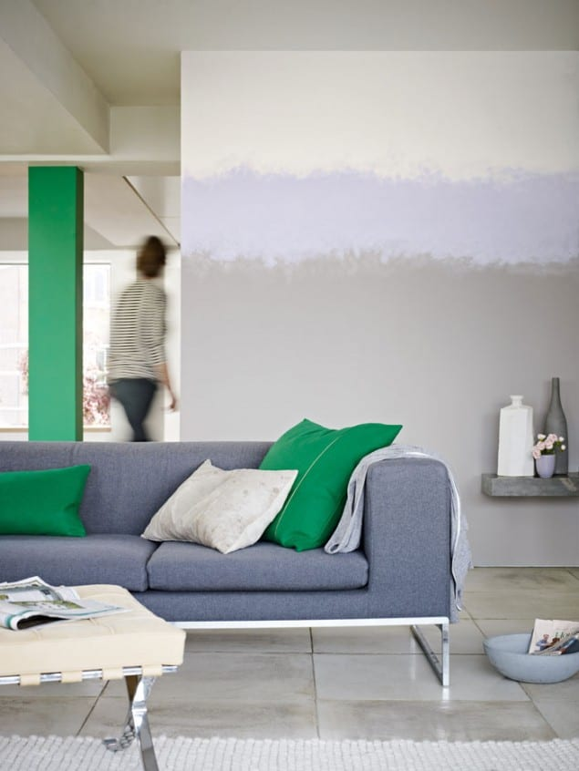 Dulux Ombre Paint Effect using Flying Feather Lilac Spring3 and Paradise Green4