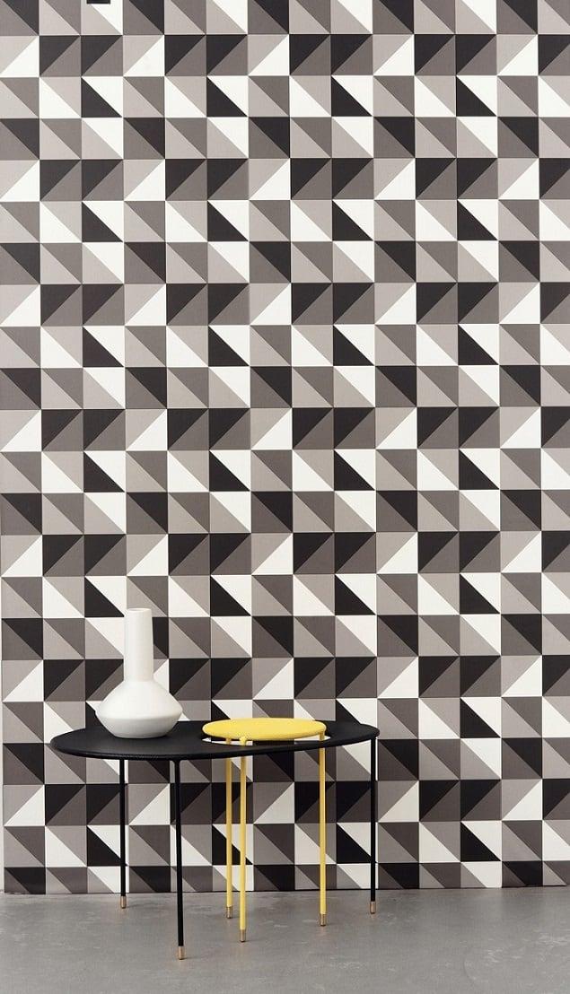 Ferm Living Geometric Wallpaper - Remix in Grey
